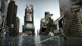Ζωντανεψοντας χρόνος τετραγωνική Νέα Υόρκη Μανχάταν, χαλασμένος δρόμος κάτω από το βρόχο νερού τρισδιάστατη απόδοση ελεύθερη απεικόνιση δικαιώματος