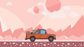 Ζωντανεψοντα ανοιχτό φορτηγό με τα κιβώτια στον κορμό που οδηγά μέσω της ρόδινης εξωγήινης ερήμου Κινούμενο αυτοκίνητο παράδοσης  απεικόνιση αποθεμάτων