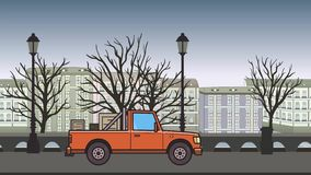 Ζωντανεψοντα ανοιχτό φορτηγό με τα κιβώτια στον κορμό που οδηγά μέσω της πόλης φθινοπώρου Κινούμενο αυτοκίνητο παράδοσης στο υπόβ απεικόνιση αποθεμάτων