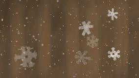 Ζωντανεψοντα αφηρημένο ριγωτό υπόβαθρο με το χιόνι και Snowflakes απόθεμα βίντεο