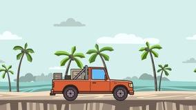 Ζωντανεψοντα κόκκινο ανοιχτό φορτηγό με τα κιβώτια στον κορμό που οδηγά στην παραλία Κινούμενο αυτοκίνητο παράδοσης seascape, πλά ελεύθερη απεικόνιση δικαιώματος