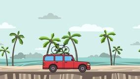 Ζωντανεψοντα κόκκινο αυτοκίνητο SUV με το ποδήλατο στον κορμό στεγών που οδηγά στην παραλία Κίνηση minivan, seascape στην πλάγια  διανυσματική απεικόνιση