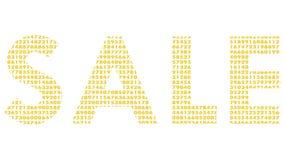 """Ζωντανεψοντα μεταβαλλόμενο υπόβαθρο digitals Επιγραφή """"πώληση """"με τις ζωτικότητες της κίνησης των αριθμών διανυσματική απεικόνιση"""