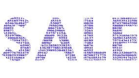 """Ζωντανεψοντα μεταβαλλόμενο υπόβαθρο digitals Επιγραφή """"πώληση """"με τις ζωτικότητες της κίνησης των αριθμών απεικόνιση αποθεμάτων"""