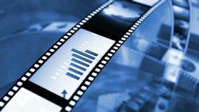 Ζωντανεψοντα περιστρεφόμενα εξέλικτρα ταινιών Μαύρο και μπλε 4K διανυσματική απεικόνιση