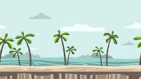 Ζωντανεψοντα υπόβαθρο Παραλία με τους φοίνικες και τους βράχους στον ορίζοντα Κινούμενη άποψη παραλιών Επίπεδη ζωτικότητα, parall διανυσματική απεικόνιση