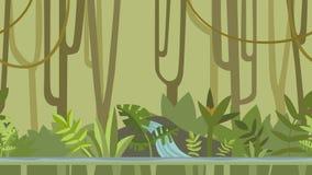 Ζωντανεψοντα υπόβαθρο Πράσινο δάσος ζουγκλών με τον ποταμό Επίπεδη ζωτικότητα, parallax footage ελεύθερη απεικόνιση δικαιώματος