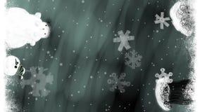 Ζωντανεψοντα υπόβαθρο τίτλων τέχνης Χριστουγέννων με τα δέντρα και το χιονάνθρωπο φιλμ μικρού μήκους