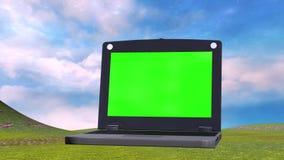 Ζωντανεψοντα υπόβαθρο του τοπίου με την κίνηση του φορητού προσωπικού υπολογιστή ελεύθερη απεικόνιση δικαιώματος