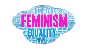 Ζωντανεψοντα φεμινισμός σύννεφο του Word διανυσματική απεικόνιση