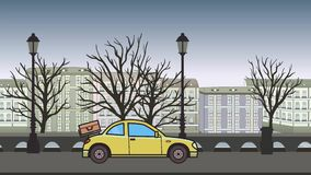 Ζωντανεψοντα coupe αυτοκίνητο με τις αποσκευές στην οπίσθια κουκούλα που οδηγά μέσω της πόλης φθινοπώρου Κίνηση hatchback στο υπό διανυσματική απεικόνιση