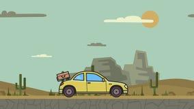 Ζωντανεψοντα coupe αυτοκίνητο με τις αποσκευές στην οπίσθια κουκούλα που οδηγά μέσω της ερήμου φαραγγιών Κίνηση hatchback στην έρ διανυσματική απεικόνιση