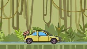 Ζωντανεψοντα coupe αυτοκίνητο με τις αποσκευές στην οπίσθια κουκούλα που οδηγά μέσω του τροπικού δάσους που κινείται hatchback στ διανυσματική απεικόνιση