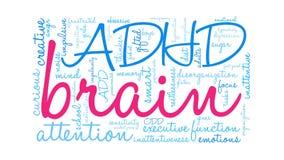 Ζωντανεψοντα Word εγκέφαλος σύννεφο ADHD απεικόνιση αποθεμάτων
