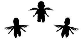 Ζωντανεψοντες σκιαγραφίες των μικρών αγγέλων Άλφα κανάλι Άλφα μεταλλίνη 4K διανυσματική απεικόνιση