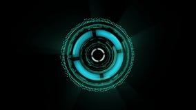 Ζωντανεψοντη η sci-Fi διεπαφή οι διαφορετικές μορφές περιστρέφονται στο μαύρο υπόβαθρο ελεύθερη απεικόνιση δικαιώματος