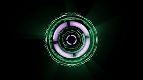 Ζωντανεψοντη η sci-Fi διεπαφή οι διαφορετικές μορφές περιστρέφονται στο μαύρο υπόβαθρο απεικόνιση αποθεμάτων