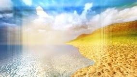 Ζωντανεψοντη θερινή θάλασσα lanscape με την πανοραμική άποψη ελεύθερη απεικόνιση δικαιώματος