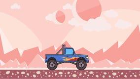 Ζωντανεψοντη μεγάλη οδήγηση φορτηγών τεράτων ροδών μέσω της αλλοδαπής ερήμου πλανητών Κινούμενο bigfoot φορτηγό στη ρόδινη έρημο  διανυσματική απεικόνιση