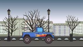 Ζωντανεψοντη μεγάλη οδήγηση φορτηγών τεράτων ροδών μέσω της πόλης φθινοπώρου Κινούμενο bigfoot φορτηγό στο υπόβαθρο πάρκων πόλεων απεικόνιση αποθεμάτων