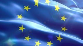 Ζωντανεψοντη τρισδιάστατη σημαία της Ευρωπαϊκής Ένωσης απεικόνιση αποθεμάτων