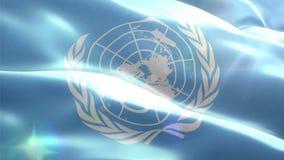 Ζωντανεψοντη τρισδιάστατη σημαία της οργάνωσης Ηνωμένων Εθνών ελεύθερη απεικόνιση δικαιώματος