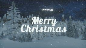 Ζωντανεψοντη Χαρούμενα Χριστούγεννα και έλκηθρο Santa στις χιονοπτώσεις διανυσματική απεικόνιση