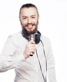 ζωντανός τραγουδιστής οργής μουσικής μικροφώνων ατόμων έννοιας Στοκ φωτογραφία με δικαίωμα ελεύθερης χρήσης