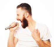 ζωντανός τραγουδιστής οργής μουσικής μικροφώνων ατόμων έννοιας Στοκ Φωτογραφία