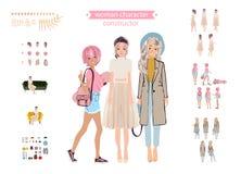 Ζωντανός χαρακτήρας γυναικών Νέος κατασκευαστής γυναικείων προσωπικοτήτων Διαφορετικές στάσεις, hairstyle, πρόσωπο, πόδια, χέρια, διανυσματική απεικόνιση