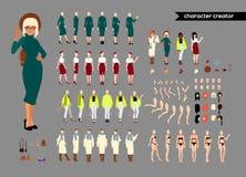 Ζωντανός χαρακτήρας γυναικών Νέος κατασκευαστής γυναικείων προσωπικοτήτων Διαφορετικές στάσεις, hairstyle, πρόσωπο, πόδια, χέρια, ελεύθερη απεικόνιση δικαιώματος