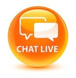 Ζωντανό υαλώδες πορτοκαλί στρογγυλό κουμπί συνομιλίας Στοκ εικόνες με δικαίωμα ελεύθερης χρήσης