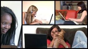 Ζωτικότητα αποθεμάτων που παρουσιάζει ακτινοβόλες γυναίκες που χρησιμοποιούν ένα lap-top φιλμ μικρού μήκους