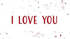 Ζωτικότητα ημέρας του ευτυχούς βαλεντίνου με τις επιπλέουσες κόκκινες καρδιές απόθεμα βίντεο