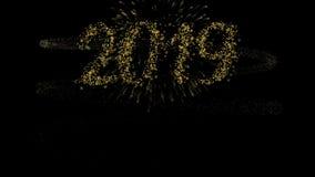 Ζωτικότητα καρτών πυροτεχνημάτων καλής χρονιάς 2019 χρυσή διανυσματική απεικόνιση