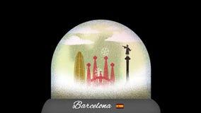 Ζωτικότητα κινούμενων σχεδίων σφαιρών χιονιού της Βαρκελώνης στον άνευ ραφής βρόχο ελεύθερη απεικόνιση δικαιώματος