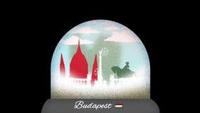 Ζωτικότητα κινούμενων σχεδίων σφαιρών χιονιού της Βουδαπέστης στον άνευ ραφής βρόχο διανυσματική απεικόνιση