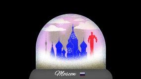 Ζωτικότητα κινούμενων σχεδίων σφαιρών χιονιού της Μόσχας στον άνευ ραφής βρόχο ελεύθερη απεικόνιση δικαιώματος