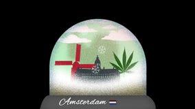 Ζωτικότητα κινούμενων σχεδίων σφαιρών χιονιού του Άμστερνταμ στον άνευ ραφής βρόχο διανυσματική απεικόνιση