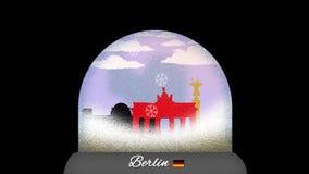 Ζωτικότητα κινούμενων σχεδίων σφαιρών χιονιού του Βερολίνου στον άνευ ραφής βρόχο ελεύθερη απεικόνιση δικαιώματος