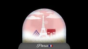 Ζωτικότητα κινούμενων σχεδίων σφαιρών χιονιού του Παρισιού στον άνευ ραφής βρόχο διανυσματική απεικόνιση