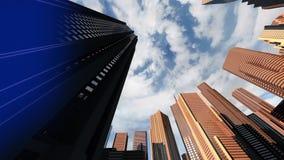 Ζωτικότητα μιας χαμηλής κάμερας γωνίας που πετά μέσω μιας τρισδιάστατης πόλης απεικόνιση αποθεμάτων