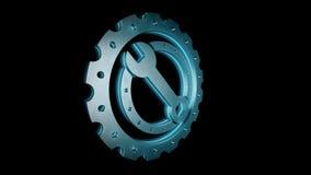 Ζωτικότητα πυράκτωσης εργαλείων, cogwheel και γαλλικών κλειδιών με το σχήμα PNG με το ΆΛΦΑ κανάλι διαφάνειας απεικόνιση αποθεμάτων