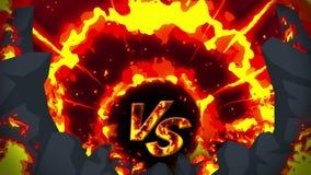 Ζωτικότητα πυρκαγιάς κινούμενων σχεδίων Υπόβαθρο βρόχων φλογών ανταγωνισμός Παιχνίδι μάχης Εναντίον του εικονιδίου ΕΝΑΝΤΙΟΝ του ε διανυσματική απεικόνιση