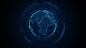 Ζωτικότητα πλανήτη Γη Περιστρεφόμενη σφαίρα, λάμποντας ήπειροι με τις τονισμένες άκρες Αφηρημένη ζωτικότητα cyber του πλανήτη Γη ελεύθερη απεικόνιση δικαιώματος