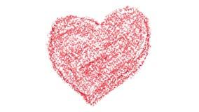 Ζωτικότητα συρμένων των χέρι κόκκινων καρδιών κραγιονιών διανυσματική απεικόνιση