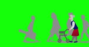 Ζωτικότητα της ανώτερης γυναίκας που χρησιμοποιεί έναν σταυρό περιπατητών απεικόνιση αποθεμάτων