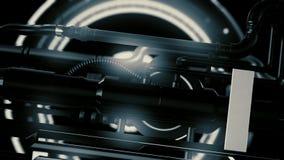 Ζωτικότητα του φουτουριστικού και μηχανισμού υψηλής τεχνολογίας με τις λεπτομέρειες φωτός και περιστροφής με τους σωλήνες, αφηρημ απόθεμα βίντεο