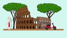 Ζωτικότητα των θεών της Ρώμης - Coliseum διανυσματική απεικόνιση