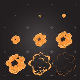 Ζωτικότητα φύλλων δαιμονίου έκρηξης κινούμενων σχεδίων Στοιχείο σχεδίου για το παιχνίδι ή τη ζωτικότητα στοκ εικόνα